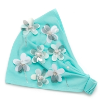 Мятная повязка для девочки с цветочками sh 1568 Chobi