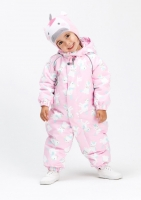 Демисезонный комбинезон Крокид для девочки цвет розовый принт лошадки