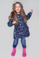 Куртка удлиненная PreMont мембранная на флисе демисезонная на девочку цвет серый с цветами