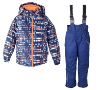 Зимний комплект Crockid на мальчика цвет сине-оранжевый принт